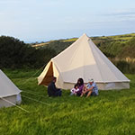 bell tents on camping site in devon