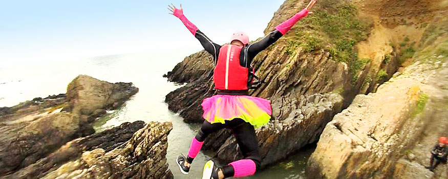 stag coasteering in north devon coast