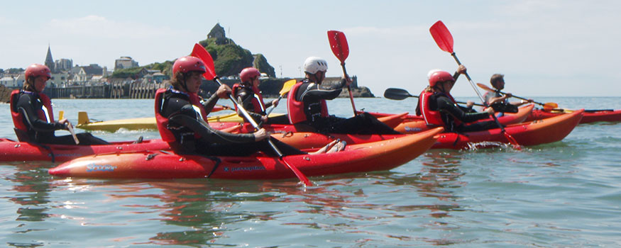 group in kayak equipment